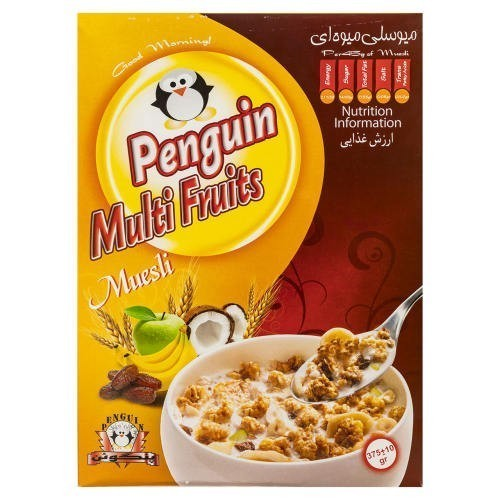 میوسلی میوه ای پنگوئن مقدار 375 گرم