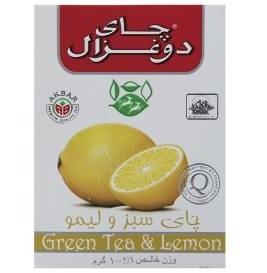 چای سبز دو غزال با طعم لیمو بسته 100 گرمی