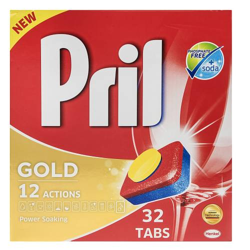 قرص ماشین ظرفشویی پریل مدل Gold بسته ۳۲ عددی