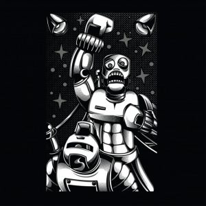 ربات یکپارچه سازی سیستم عامل با سیاه و سفید می جنگد| Retro robot fighting black and white