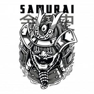 ماسک سامورایی سیاه و سفید است   Samurai mask black and white