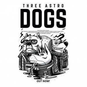 سه سگ آسترو سیاه و سفید | Three astro dogs black and white