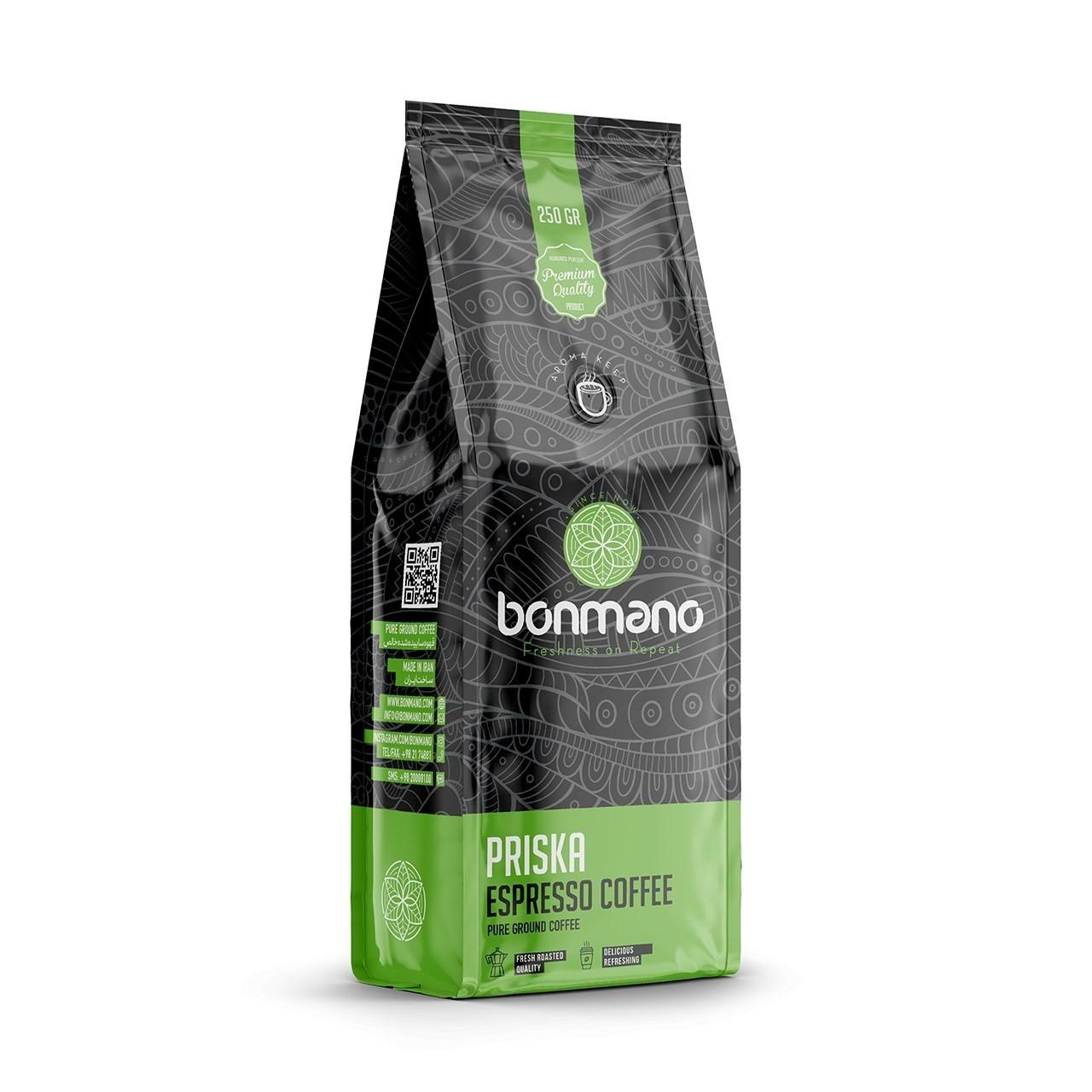 قهوه اسپرسو بن مانو مدل پریسکا ۲۵۰ گرمی